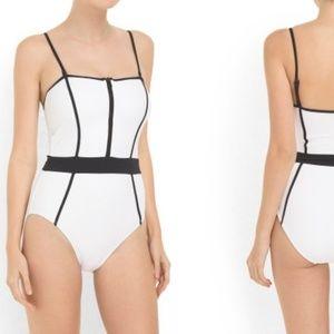 La Blanca Bond Girl Zip Front Bandeau Swimsuit